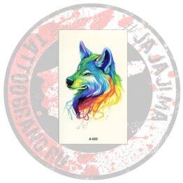 Переводная татуировка Волчица радужная