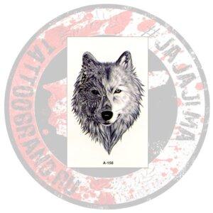 Переводная татуировка Волк комбинированная