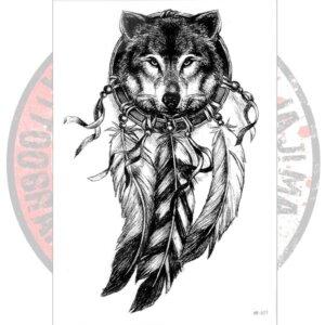 Переводная татуировка с волком