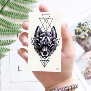 Переводная татуировка Волк геометрия