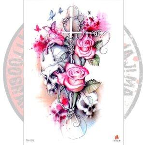 татуировка Розы Черепа и Крест