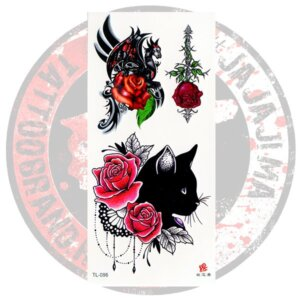 флеш-тату Кошка розы дракон