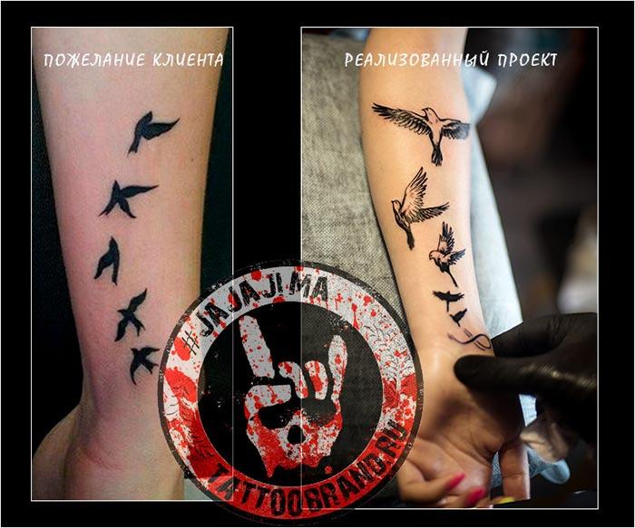 татуировка с птичками на руке