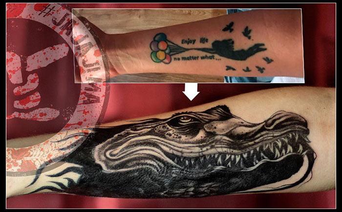 перекрытие татуировки черной графикой