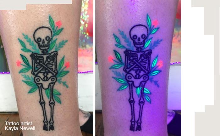 светящаяся тату скелет